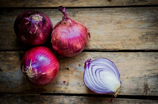 red onions on table