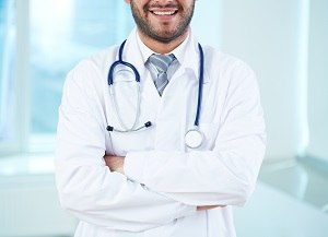 Close-up of doctor with stethoscope