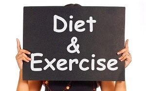 Diet And Exercise Sign Showing Weight Loss Advice